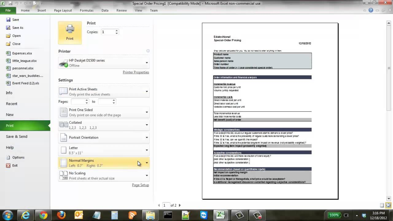 how to print an excel spreadsheet on one page youtube