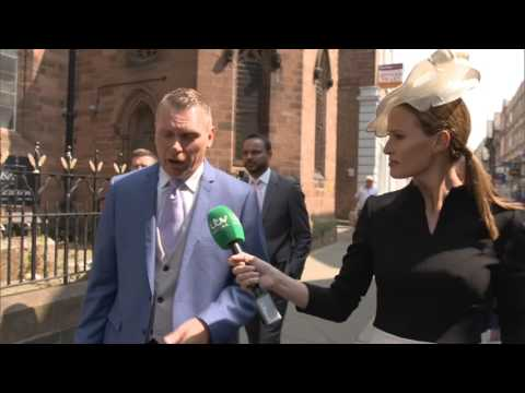 ITV Racing presenters take a walk through Chester en route to Ladies Day