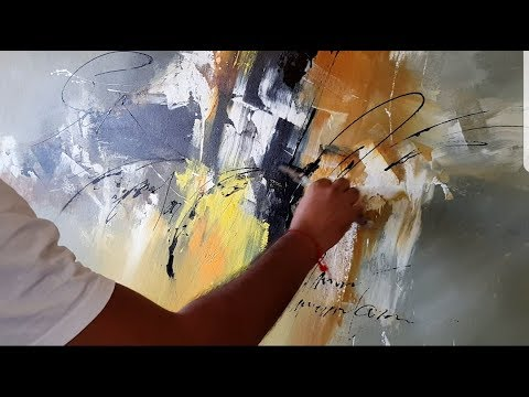 Abstract painting / Acrylic abstract painting / palette knife / Demonstration