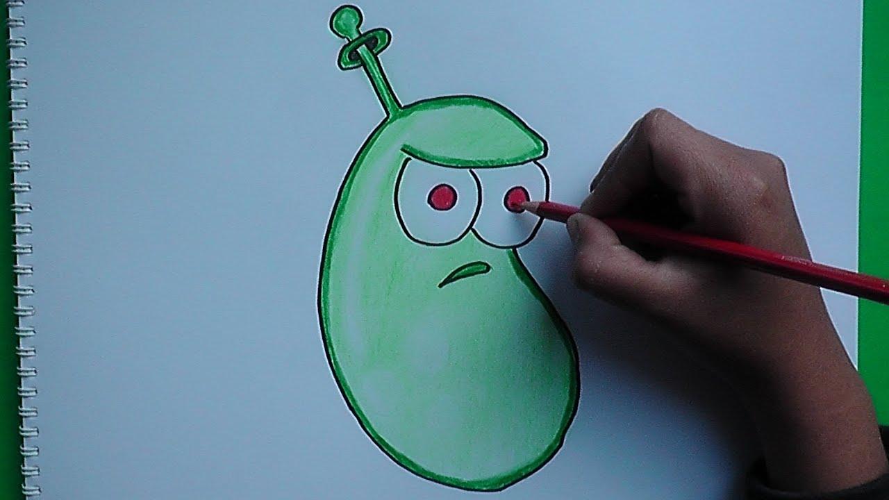 Como Dibujar A Un Pomelo De Pvz: Dibujando Y Coloreando Frijol Laser (Plantas Vs Zombies 2
