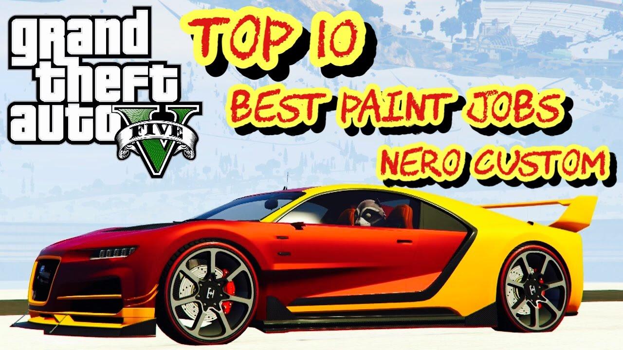 TOP 10 BEST PAINT JOBS OF THE NEW NERO CUSTOM!! (IMPORT/EXPORT DLC GTA 5  ONLINE )