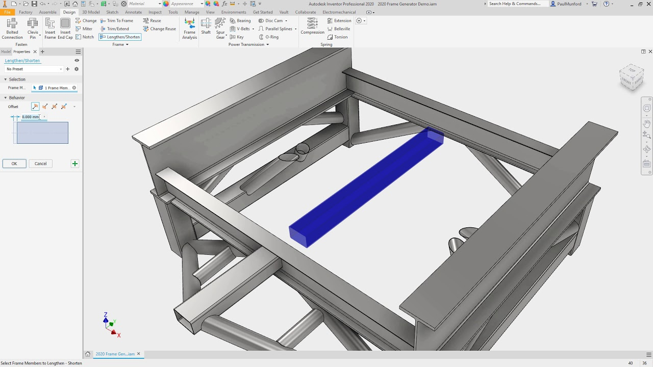 Autodesk Inventor 2020 what's new: Frame Generator
