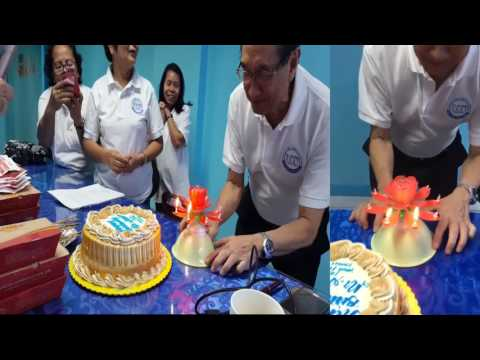 PADI President surprised belated birthday cake with Musical Birthday Sparkling Fountain