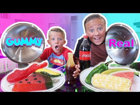 Thumbnail: GUMMY FOOD vs REAL FOOD Switch Up Challenge! Kids react to trying gummi candy and real food