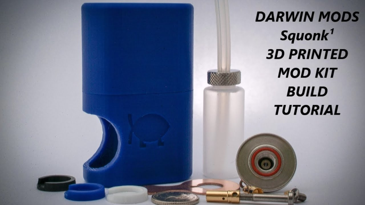 Darwin Mods Squonk¹ 18650 Mechanical 3d printed mod kit build