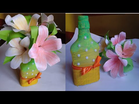 Best out of waste glass bottle idea/diy home decoration idea /bottle craft idea /decorating bottle