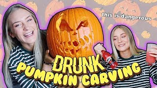 MY FIRST TIME CARVING A PUMPKIN....DRUNK | Katelyn Fitch