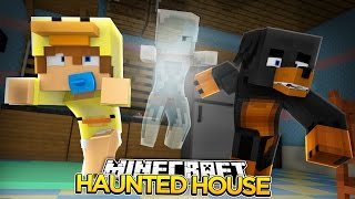 Minecraft HAUNTED HOUSE - BABY DUCK HAS A POLTERGEIST IN HIS HOUSE!! - donut the dog