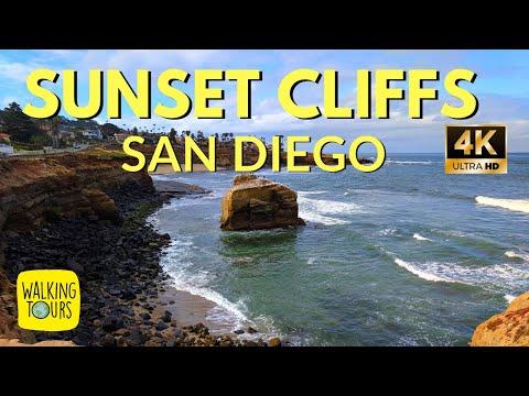 Sunset Cliffs | Secret Caves | San Diego | Surfing | 4K Walking Tour