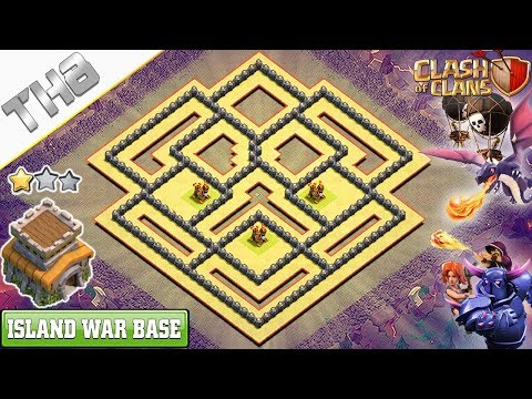 New TH8 War Base 2018 (Air Defense Island Base) - Clash of Clans