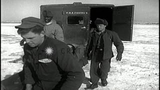 General MacArthur at Pyongyang airstrip with General Edward M Almond in Pyongyang...HD Stock Footage