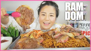 NUCLEAR FIRE RAM-DON w/ STEAK from the movie PARASITE (hyunee-way) l MUKBANG