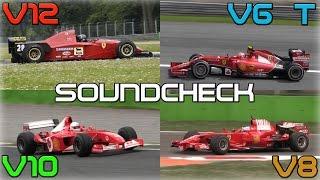 One Brand, One Racetrack: Ferrari F1 Engines Soundcheck - 2014 V6 Turbo, V8, V10, V12