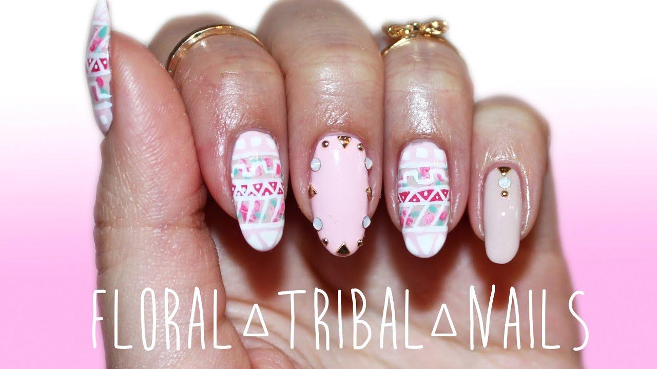 spring nails floral tribal nail