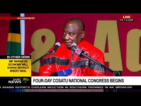 Pres. Cyril Ramaphosa addresses the 13th Cosatu National Congress