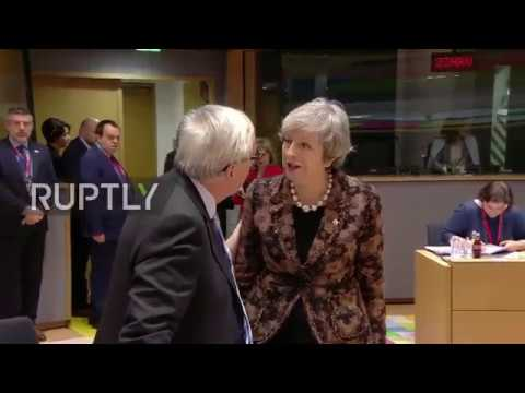 Belgium: May and Juncker have tense exchange as roundtable talks kick off