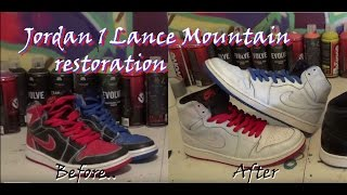 AIR JORDAN 1 X LANCE MOUNTAIN QS PACK BRED ROYAL PAINT STRIPPING RESTORATION TIME LAPSE + ON-FOOT