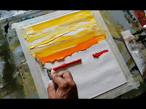 Abstract painting/Easy/Abstract landscape 08/Just using palette knife/Acrylics/Demonstration