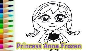 Princess anna frozen - Belajar menggambar kartun putri disney untuk anak / edukasi anak