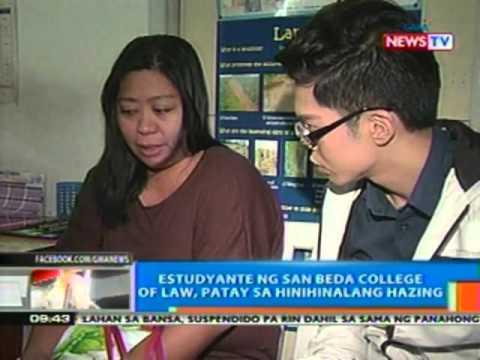 NTG: Estudyante ng San Beda College of Law, patay sa hinihinalang hazing