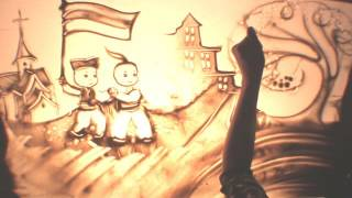"""Sand Animation """"Friendship of Serbian and Ukrainian peoples since ancient times"""" Belgrade Serbia"""