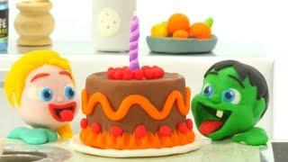 SUPERHERO BABIES LOVE CHOCOLATE CAKE ❤ Spiderman, Hulk & Frozen Elsa Play Doh Cartoons For Kids