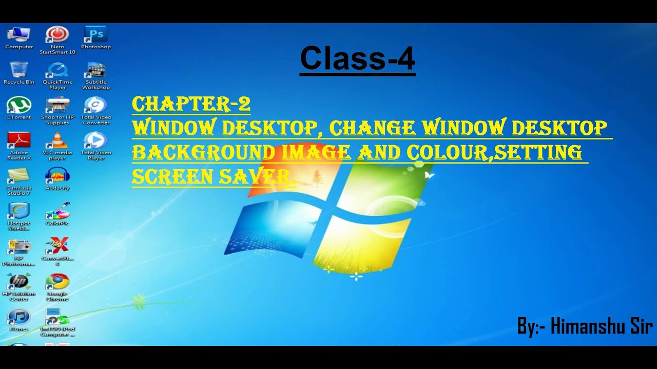 Class 4 Chapter 2 Window Desktop Changing Desktop Background Colour Setting Screen Saver Youtube