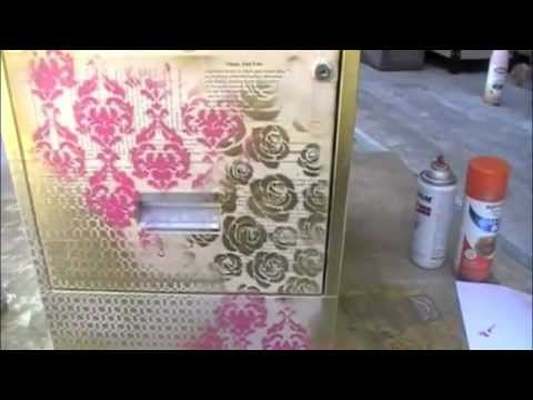 Altered filing cabinet using creative imaginations for Creative spray paint ideas