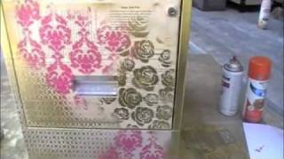 Altered Filing Cabinet Using Creative Imaginations Stencils, Vintage Paper &spray Paint