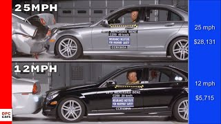 Mercedes C-Class Crash Test At 25mph vs 12mph thumbnail