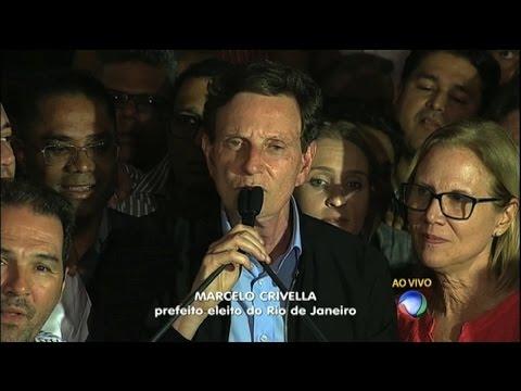 Marcelo Crivella (PRB) faz discurso após ser eleito prefeito do Rio de Janeiro