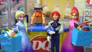 Frozen Elsa and Anna Shopkins See Prince Hans at Mi World Dairy Queen