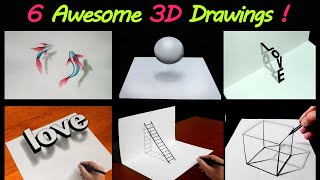 6 Easy 3D Draẁing Tutorial ! 😱 Easy 3D illusion Drawing tutorials