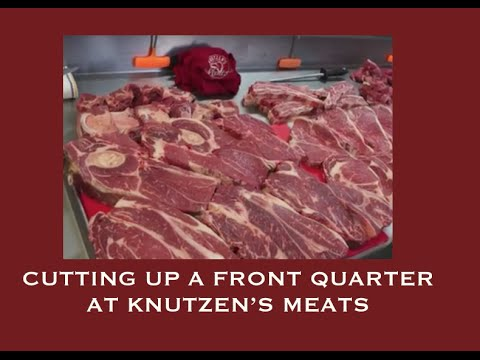 Cutting up a front quarter of beef at Knutzen's Meats