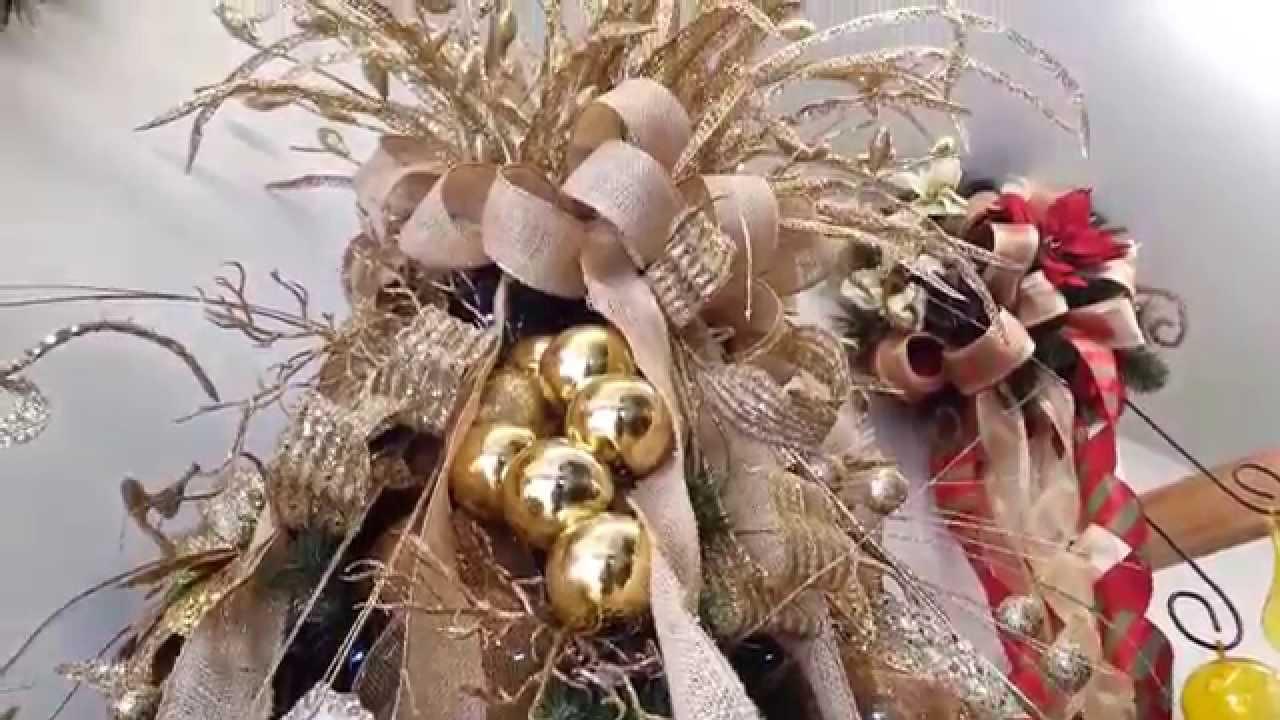 varias ideas para decorar arbol de navidad en dorado 2015