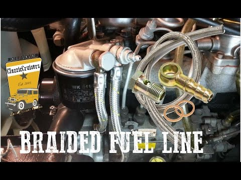 New braided fuel line with Banjo fitting - Toyota Landcruiser BJ40 BJ42 FJ40