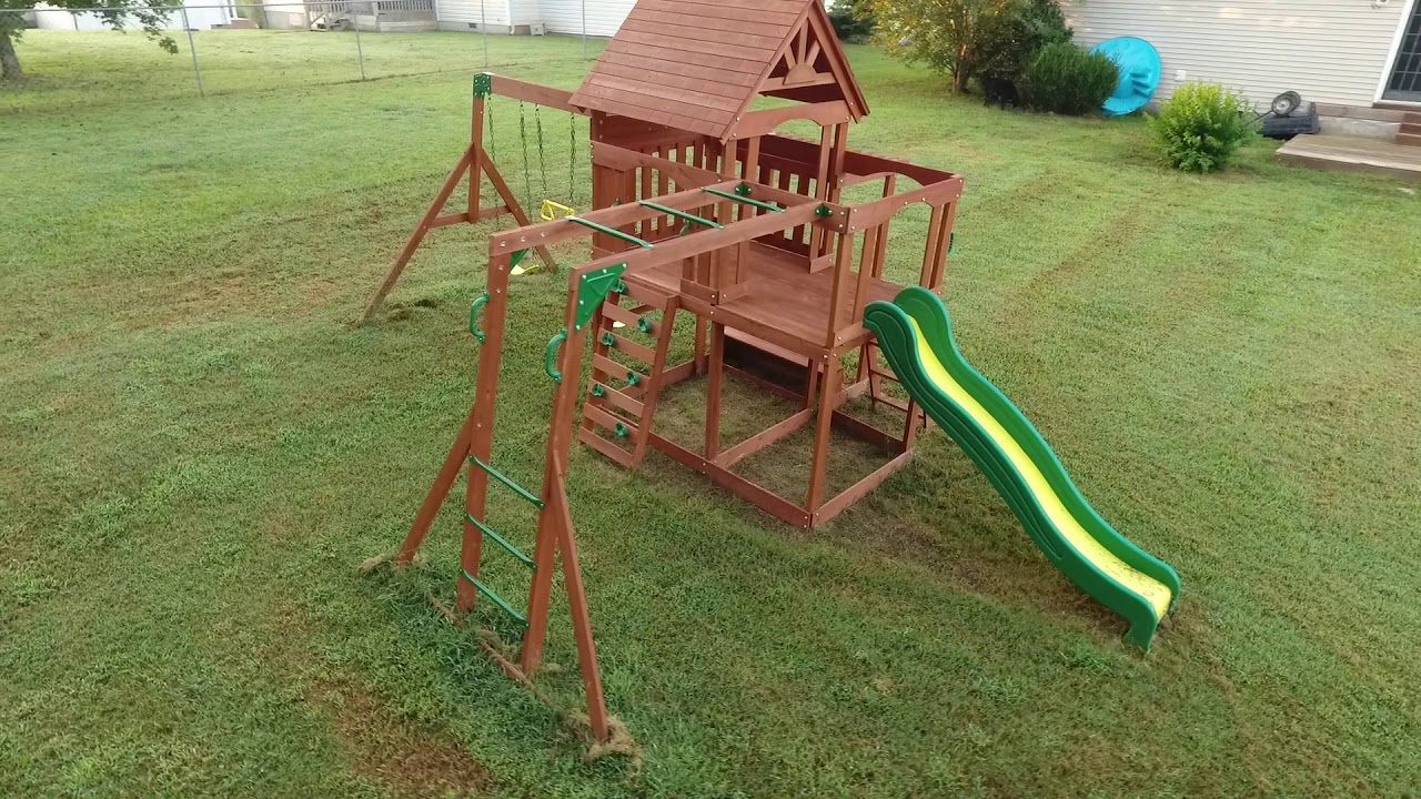 Backyard Discovery - Monticello Cedar Swing Set - Backyard Discovery - Monticello Cedar Swing Set - YouTube