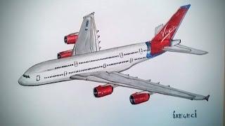 VIRGIN ATLANTIC,AIRBUS A380 (drawing timelapse)