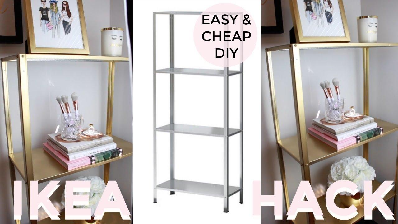 Easy Cheap Diy Under 20 Gold Shelf Ikea Hack