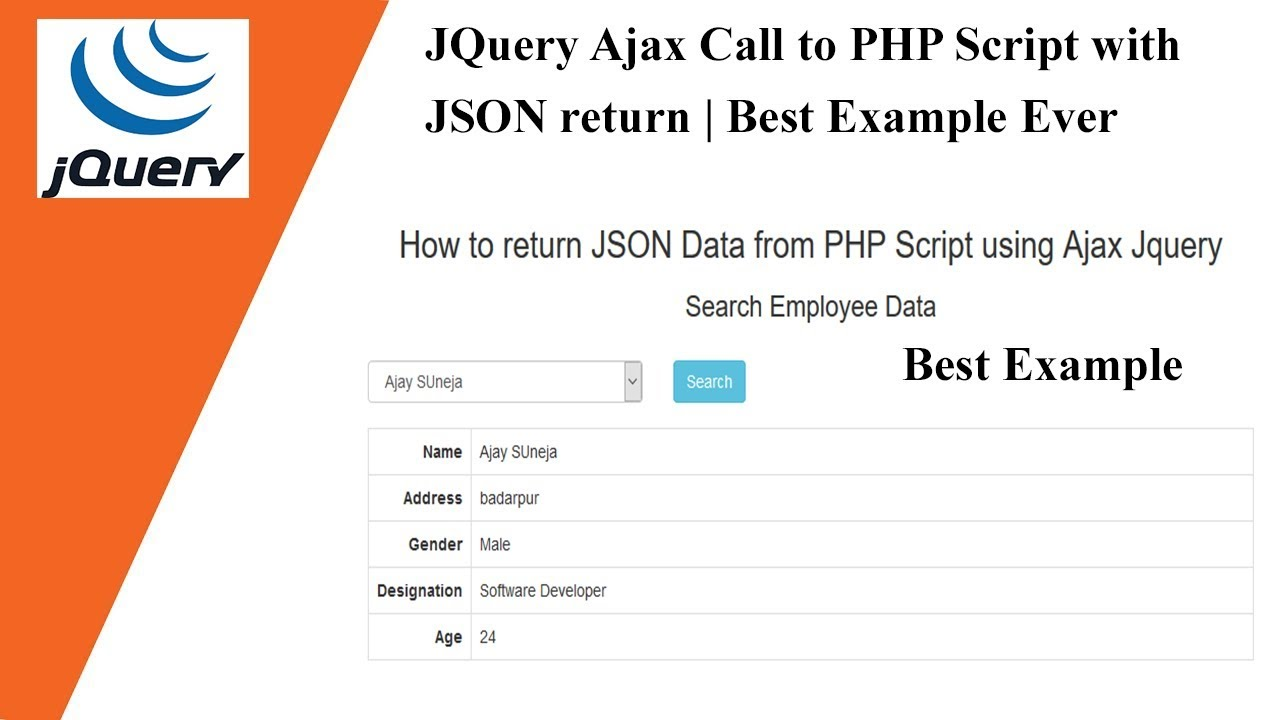 JQuery Ajax Call to PHP Script with JSON return   Best Example Ever 🔥🔥