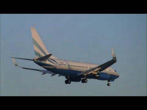 (With live ATC) Las Vegas Sands Corporation Boeing 737BBJ landing at Zürich-Kloten