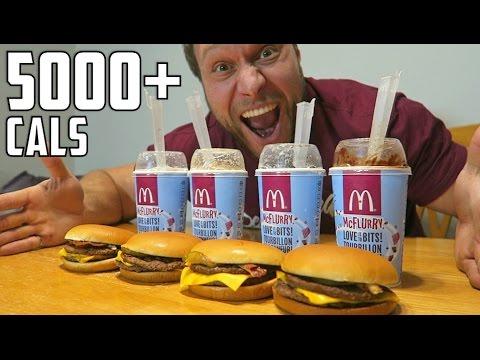 Le défi des hamburgers et McFlurry du McDonald  (plus de 5000 calories)