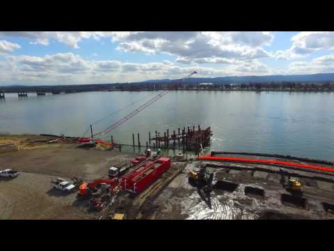 Drone fly-over footage of The Waterfront Vancouver and Grant Street Pier