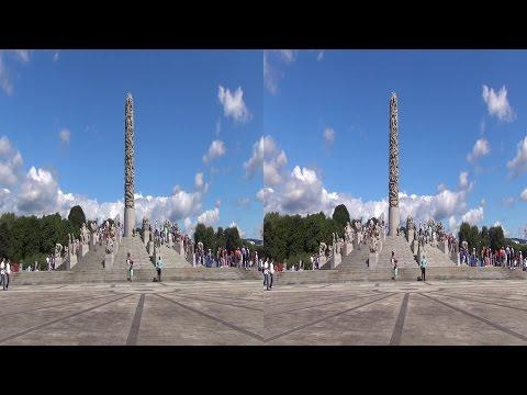 Oslo Vigeland Park Frogner Park Вигеландпарк Vigelandpark 3D sbs