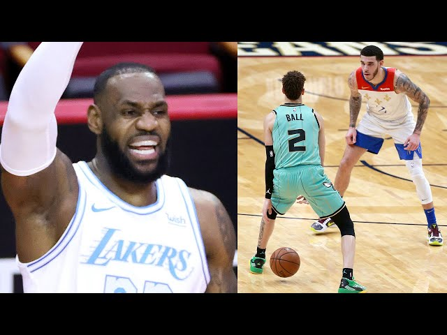 LeBron James Shouts Out LaMelo Ball After He Shoots 3 RIGHT In Lonzo\'s Face During Game v Pelicans