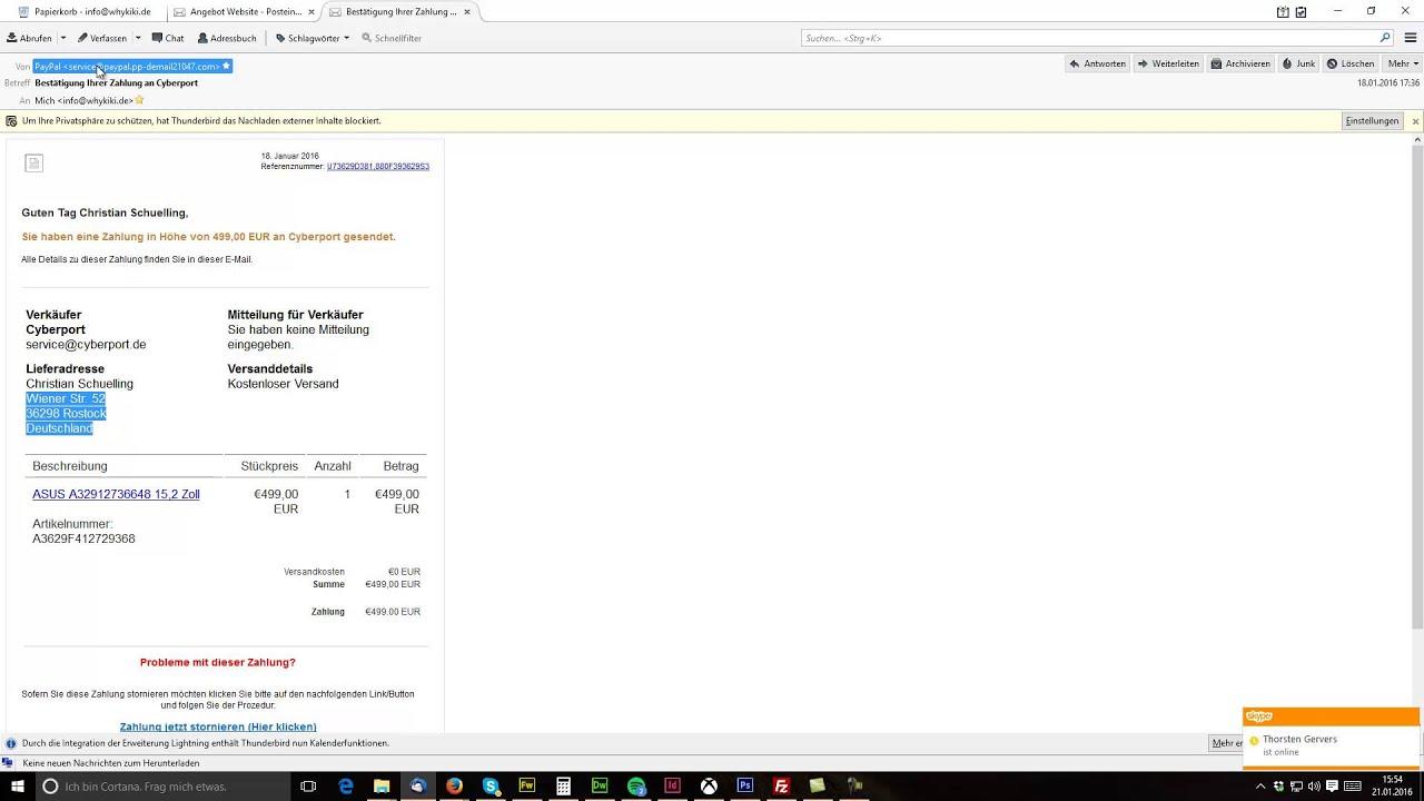 Paypal Fake- oder Phishingmail: Fast reingefallen :-)