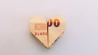Repeat youtube video Origami paper money heart valentine / พับธนบัตรเป็นรูปหัวใจ วันวาเลนไทน์