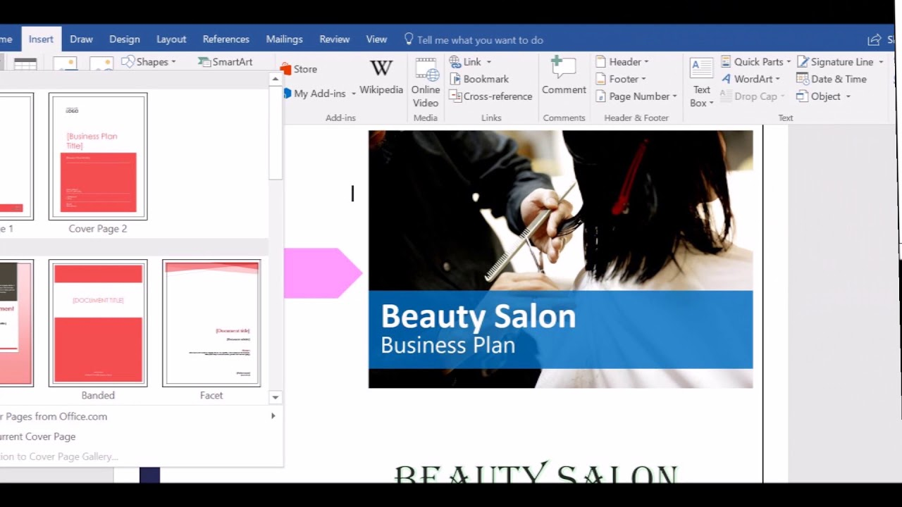 salon business plan cover page youtube