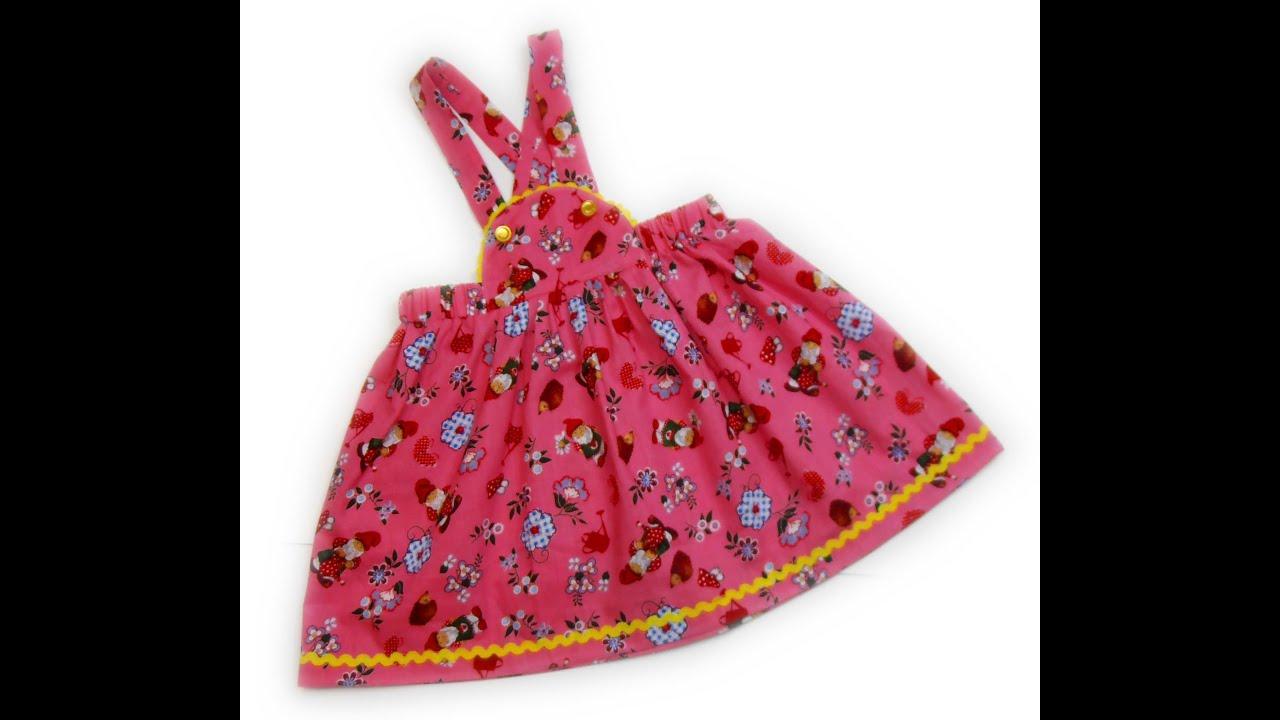 Как сшить юбку на лямках для девочки