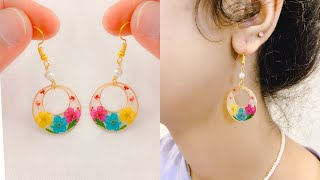 Quick and Easy resin earrings/make these beautiful earrings using natural dried flowers/no mold